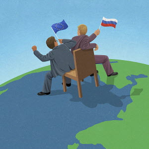European Union and Russian politicians fighting over control on world map