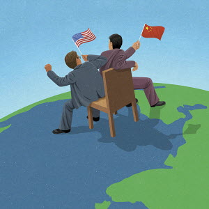 American and Chinese politicians fighting over control on world map