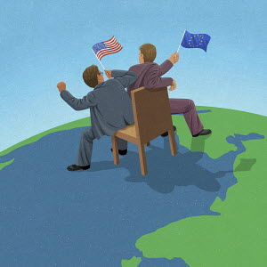 American and European Union politicians fighting over control on world map