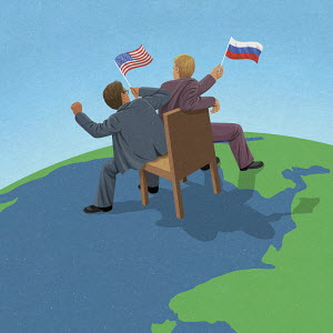 American and Russian politicians fighting over control on world map
