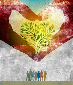 Hands forming heart shape money tree above group of people
