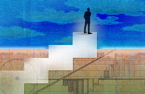 Businessman standing on top of diagram stairs looking up to sky