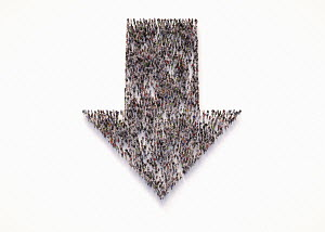Overhead view of crowd of people forming arrow pointing downwards
