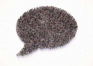 Overhead view of crowd of people forming speech bubble