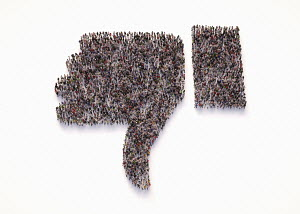 Overhead view of crowd of people forming thumbs down dislike symbol