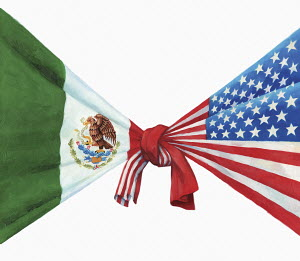 United States and Mexican flags knotted together