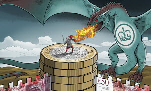 Soldier protecting money fortress against British HM Revenue and Customs dragon