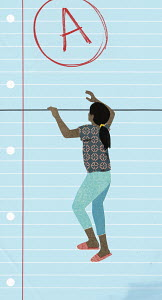 Girl climbing sheet of lined paper to reach A grade