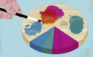 Pie chart on paint palette