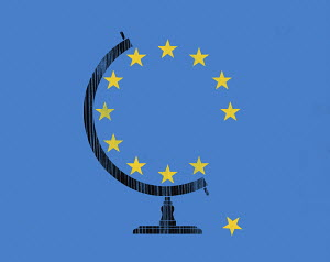 Star falling from European Union globe