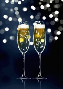 Two sparkling champagne flutes