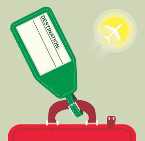 Blank holiday luggage label and air travel