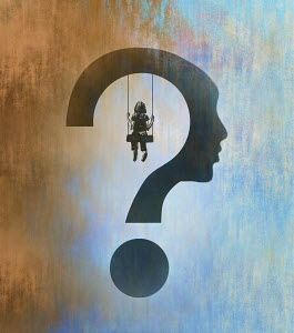 Child on swing inside of question mark head