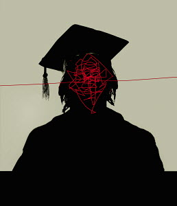 Tangled lines inside of graduate's head
