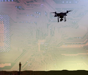 Man flying drone in circuit board sky