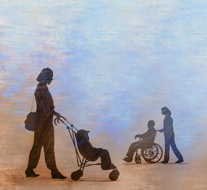 Similarity between young boy in pushchair and old man in wheelchair