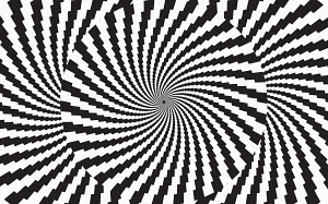 Abstract monochrome checked vortex pattern