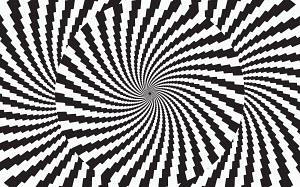 Abstract monochrome checked vortex pattern