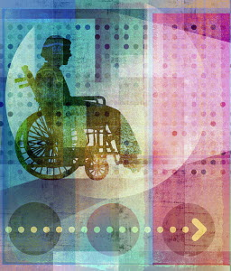 Abstract pattern with elderly woman in wheelchair