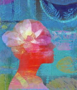 Lotus flower inside of woman's head