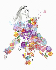 Fashion illustration of woman posing in flower pattern