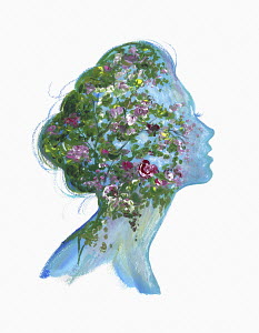Flowers inside of woman's head