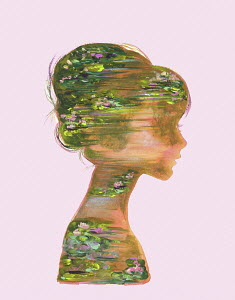 Painted water lily pond inside of woman's head