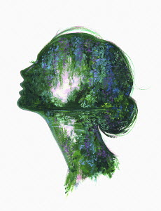 Lush forest scene inside of woman's head
