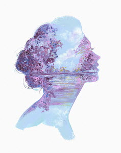 Scenic lilacs and lake inside of woman's head