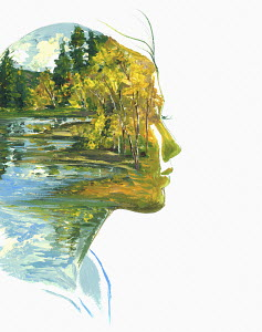 Autumn forest and lake scene inside of woman's head