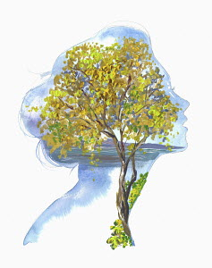 Autumn tree inside of woman's head