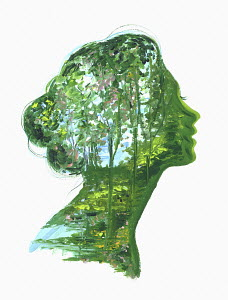 Lush forest scene inside of woman's head