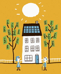 Couple watching money grow on trees as house uses solar panels