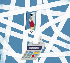 Woman escaping from tangled adding machine printout into sunshine