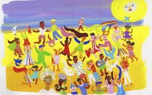 People having fun dancing on beach