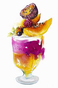 Fresh fruit trifle dessert