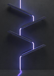 Neon light cascading down series of slanted gutters