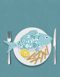 Fish full of plastic on plate with chips