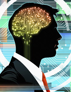 Businessman with circuit board brain