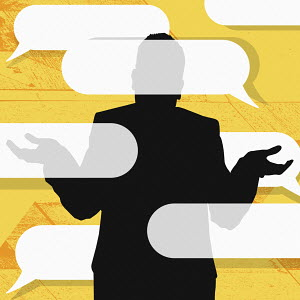 Businessman shrugging at lots of speech bubbles