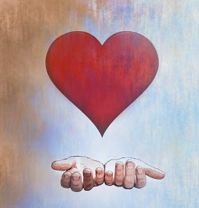 Cupped hands below heart shape