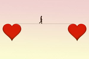 Woman walking line between two hearts