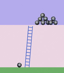 Single ball at bottom of ladder separated from stack of balls at top