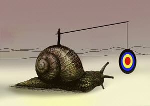Man dangling target in front of snail