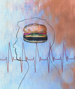 Pulse trace over a man thinking about a large cheeseburger