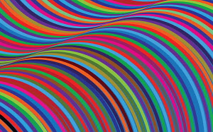 Abstract full frame brightly coloured curved stripe pattern