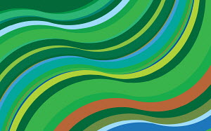 Green striped abstract wave pattern