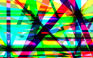 Complex crisscrossing multi coloured striped abstract pattern