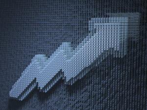 Rising line graph arrow in three dimensional binary code