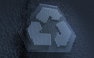 Recycling symbol in three dimensional binary code